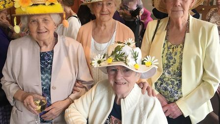 Wimblington ladies keep fit group arrive in style for annual Easter bonnet lunch. Group leaders Chrs