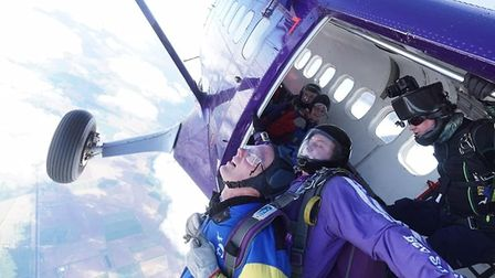 Jane Dunsmore and Tony Read, who both work at Tesco in Ely, took part in the tandem skydive on April