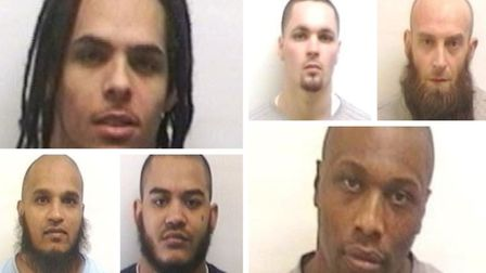The six inmates at Whitemoor Prison, March, who were sentenced this week for their part in a disturb