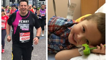 Henry Wright of Ely (pictured left) ran this year's London Marathon in memory of his late four-year-