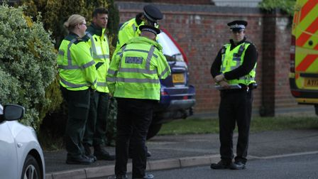 A police cordon is in position on this housing estate at Bittern Way, March, after the discovery of