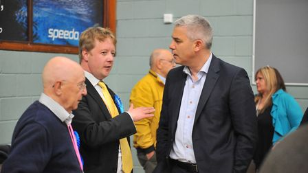 MP Steve Barclay with Alan Bristow, a Tory winner in Whittlesey, and Alan's son Paul who is a Parlia