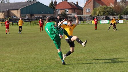 Friend collides with the Sudbury keeper (pic Imogen Goult)