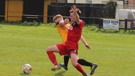 Gibson gets past a Sudbury defender (pic Imogen Goult)