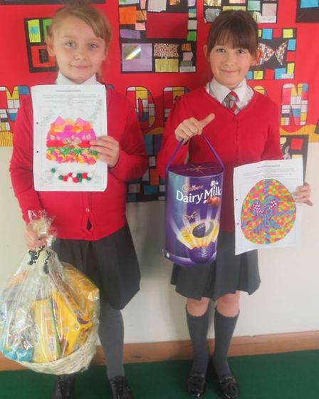 Both Lottie Cadby and Katie Bryan from Rayne Primary School received prizes for their artwork. Pictu