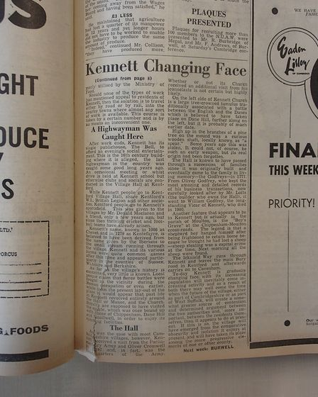 Hiow the village of Kennett was reported in the Cambridgeshire press back in 1962. Today the village