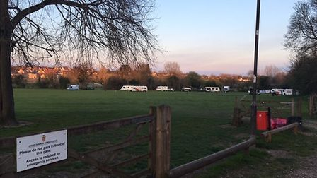Travellers set up camp on Dunmow's recreation ground this April, to the dismay of some residents. Pi