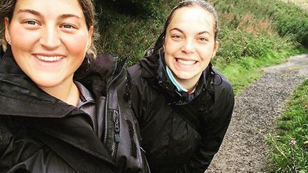 Bethany Peryer and Alice Derry (pictured) are gearing up to take on a 117-mile trek in the Welsh mou