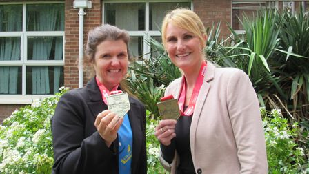 English teacher Laura Garlick and music teacher Gayna O'Rourke, both of Cromwell College, Chatterii