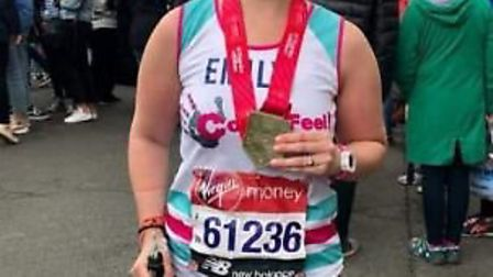 Emily Garry, of March, raised £4,000 for the CoppaFeel charity by taking on the London Marathon and
