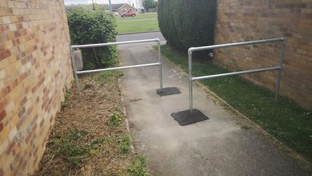 The barriers at Suffolk Way in March which need to be re-designed after being labelled 'crap' and 'n