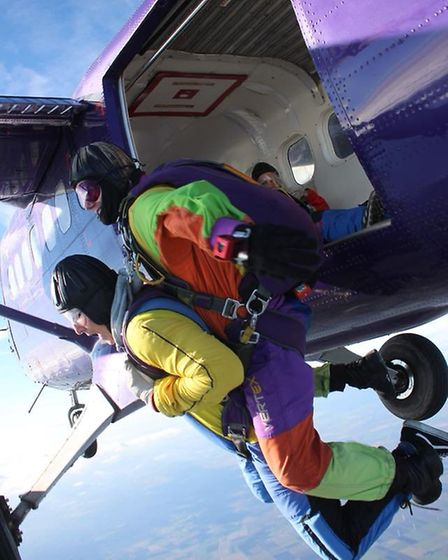 George Leech, 20, who completed a sky dive last autumn for Cancer Research UK in memory of his mothe