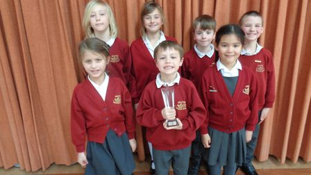 Felsted Primary pupils with their physics trophy