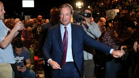 Nigel Farage during a Brexit Party rally in Peterborough King's Gate Conference Centre as part of th