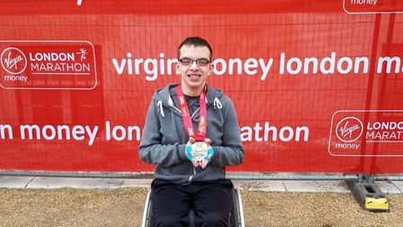 Adam Goldspink-Burgess completed the London Marathon in two hours, 50 minutes and one second