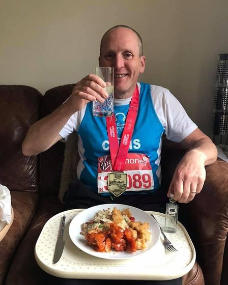 Chris Peacock from Saffron Walden who ran the London Marathon in four hours, 10 minutes and 28 secon