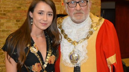 Mike Rouse will serve as Mayor of Ely for second term.. Pictured with daughter mayoress Lauren Rouse
