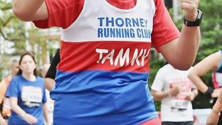Tammy Bell, 46, from Whittlesey who once struggled to run 5km, took part in the London Marathon afte