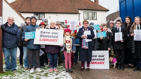 Protests were held in February against the proposed closure of Stansted Library. Picture: SAFFRON PH