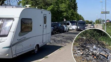 Cambridgeshire Police have broken-up an illegal encampment on the B1040 in Ramsey just days after a