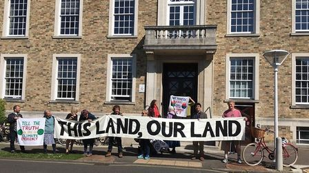 Protetsors outside Shire Hall, Cambridge, today: a petition was handed in calling for public rights