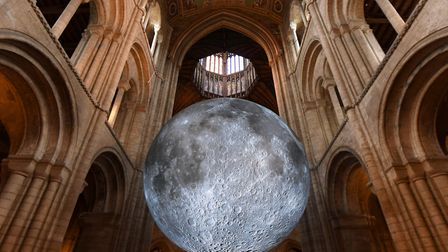 Luke Jerram's 'Museum of the Moon' installation at Ely Cathedral in Cambridgeshire. The 7 metre diam