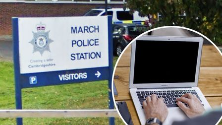 A March police officer has been suspended after being arrested on suspicion of making / distributing