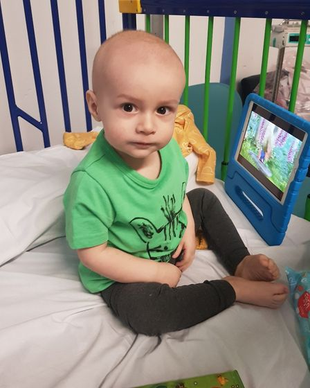 The family one-year-old Alfie Webb from Ely who has leukemia is calling for people to sign up as pot