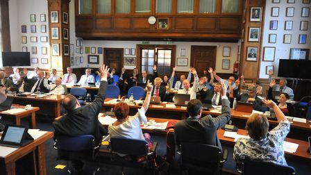 The first meeting of the new Fenland District Council at Fenland Hall in March on Thursday, May 23.