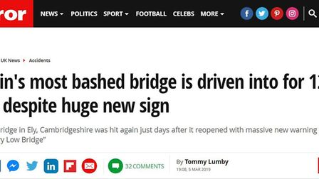 Coverage in the Daily Mirror online. This is NOT a mirage… Ely's Stuntney Bridge really has been hit