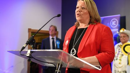 Newly elected Labour MP Lisa Forbes gives her winners speech after the count for the Peterborough by