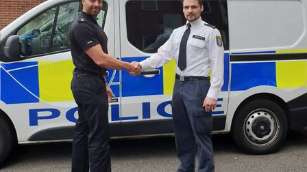 German police officer on the beat in Cambridgeshire as part of exchange programme. Picture: CAMBS PO