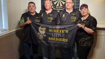 The Scotty's Little Soldiers team who will be taking part in the darts fundraiser. From left to righ