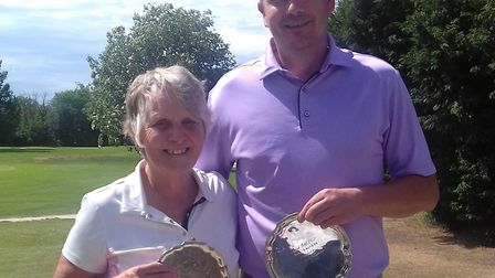 Brenda Softley and James Campbell won the Papworth Salvers event at March Golf Club. Picture: SUBMIT