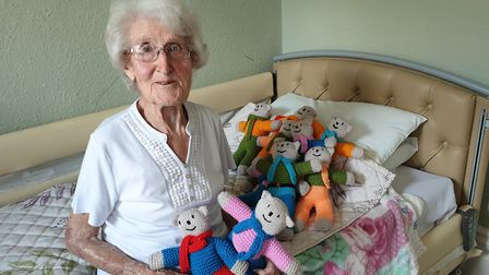 Phyllis Neal has knitted more than 120 bears over the past four years for vulnerable children in the