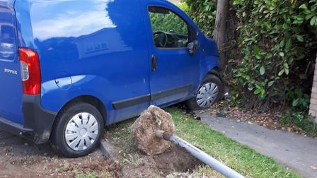 The driver of this van was arrested after they tested positive for cocaine in Soham. Picture: TWITTE