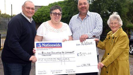 FACT cheque presentation ( left to right) Gary Christy, Michelle Irvine, Dave Humphrey and Jenny Par