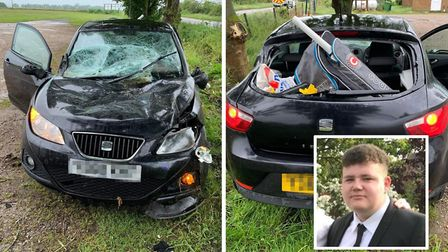 The scene on Elm Road on Tuesday (June 11) after Shae Pooley (inset) was involved in a crash which s