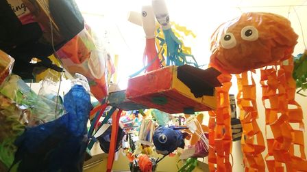 Pupils at the Lantern Community Primary School used thrown-away items to produce a giant fish struct