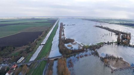 Aerial view of the Ouse Washes and the Welney Wash road flooded.. Picture; EA