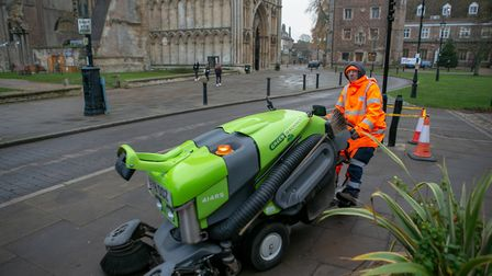 Workmen getting ready in Ely ahead of the visit by Prince Charles and the Duchess of Cornwall. Pictu