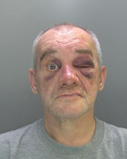 Christopher Wing (pictured) has been jailed after stabbing one of his ex-wife's friends in what poli