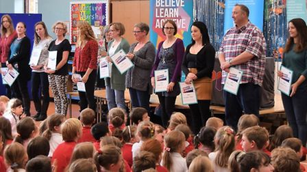 Pupils, parents and staff at the YMCA mental health training graduation ceremony. Picture: DAISY LIT