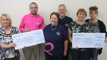 Mayor of Whittlesey Concillor Julie Windle presented two cheques to Alzheimer's Society and Young Pe
