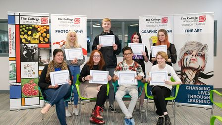 Wisbech art and design student award winners at the opening of the College of West Anglia exhibition