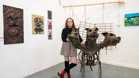Wisbech art and design student Briony Richmond with her artwork at the opening of the College of Wes