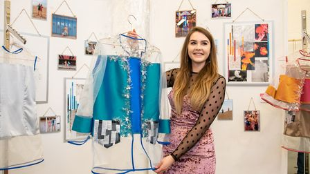 Wisbech art and design student Maise Gould with her artwork at the opening of the College of West An