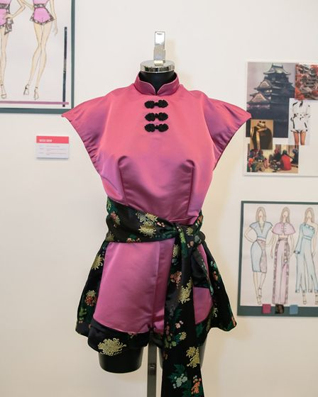 Wisbech art and design student Nicole Drew's design at the opening of the College of West Anglia exh