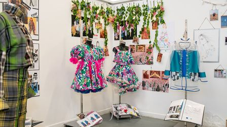 Wisbech art and design student Maise Gould's designs at the opening of the College of West Anglia ex