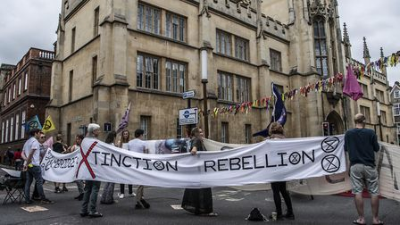 Extinct Rebellion campaigners brought part of Cambridge to a stand still on Saturday in their latest